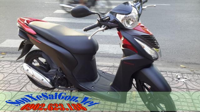 Sơn xe Honda Vision màu đỏ đen nhám 2015