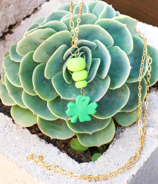 Instructions on making your own polymer clay four leaf clover necklace for St. Patty's Day.