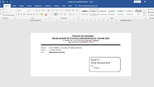 Cara Membuat Kop Surat di Amplop di MS Word