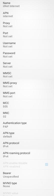 iinet Internet and MMS Settings for Android / Samsung Galaxy / HTC/ Nexus: