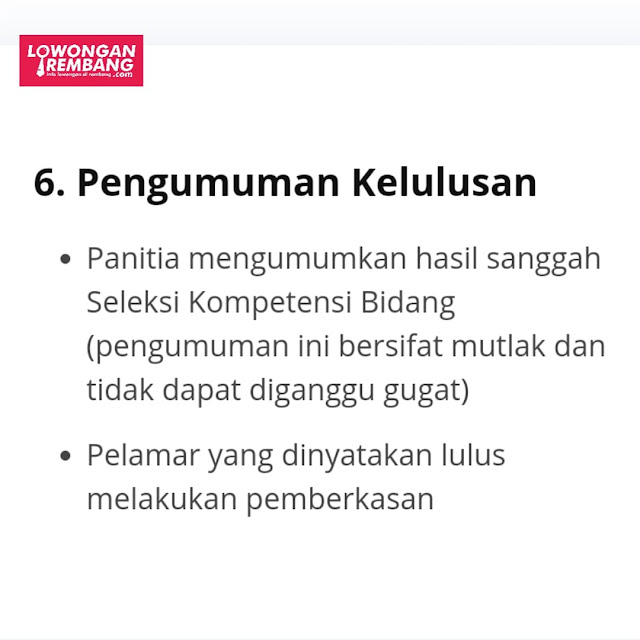 2 Tahap Pengumuman Kelulusan Seleksi CPNS Nih Sobat Loker Rembang