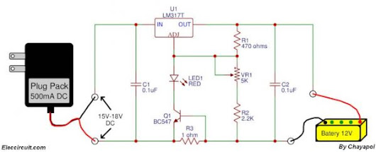 Circuit Schematic Adjustable Gel Cell Battery Charger using LM317.