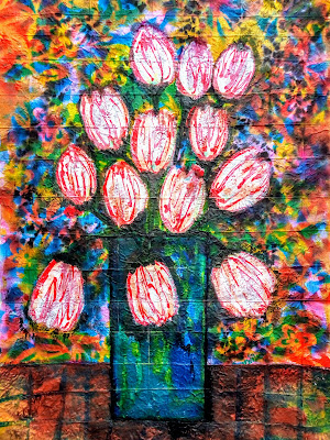 Tulips in a Vase Painting by Miabo Enyadike