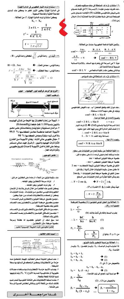 مراجعات وتوقعات امتحان الفيزياء للثانوية العامة - ملحق الجمهورية 4