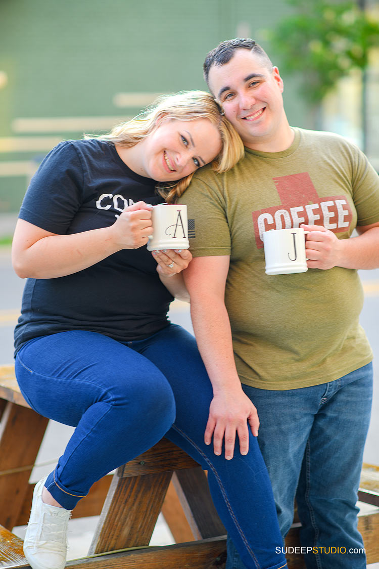 Toledo Wedding Engagement Pictures by Downtown Coffee shop - by SudeepStudio.com Ann Arbor Wedding Photographer