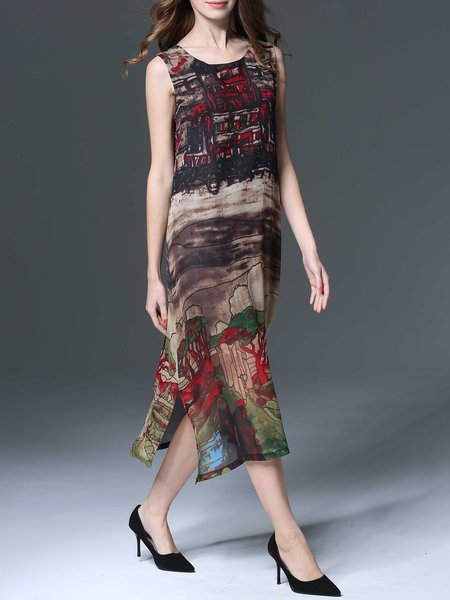 Multicolor Painted Vintage Style A-line midi dress from Mingysyi