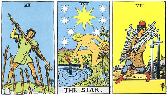 Rider Tarot Reading - 7 of Wands, The Star, The 7 of Swords.