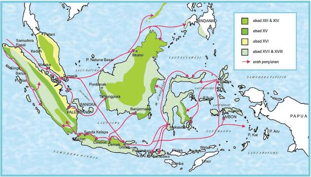 Jalur Masuknya Islam ke Indonesia (Sejarah Kebudayaan Islam) selanjutnya penyiaran agama Islam berkembang ke pulau-pulau lain di Nusantara