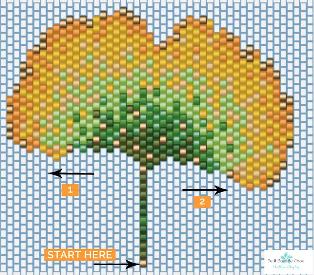 DIY Beaded ginko leaf in brick stitch grid