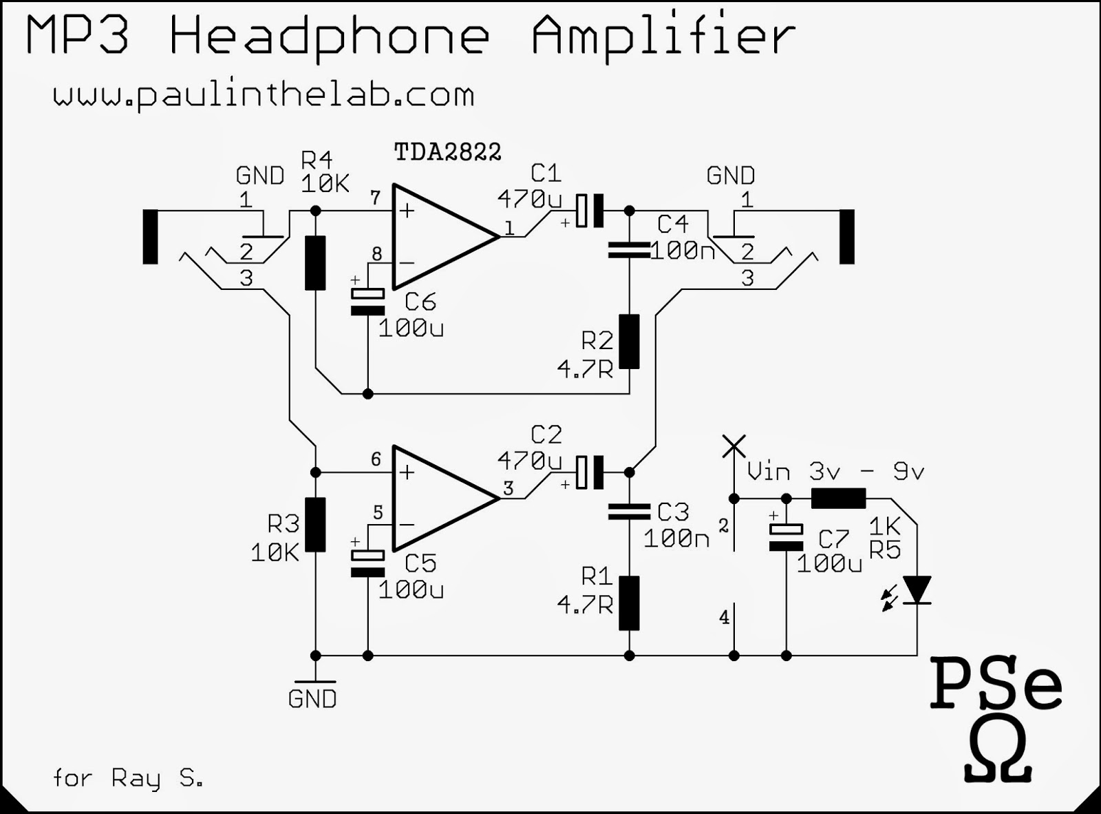 Schematic Diagram Headphone Amplifier Diy Kit Base On Lehmann Amp Circuit Paul In The Lab Mp3 Ipod Tda2822m Stripboard