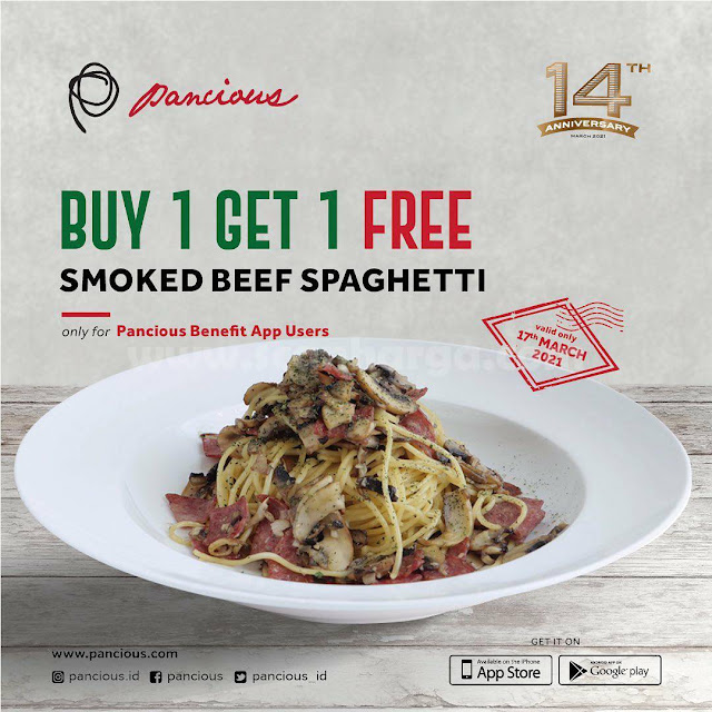 Promo PANCIOUS BELI 1 GRATIS 1 Smoked Beef Spaghetti