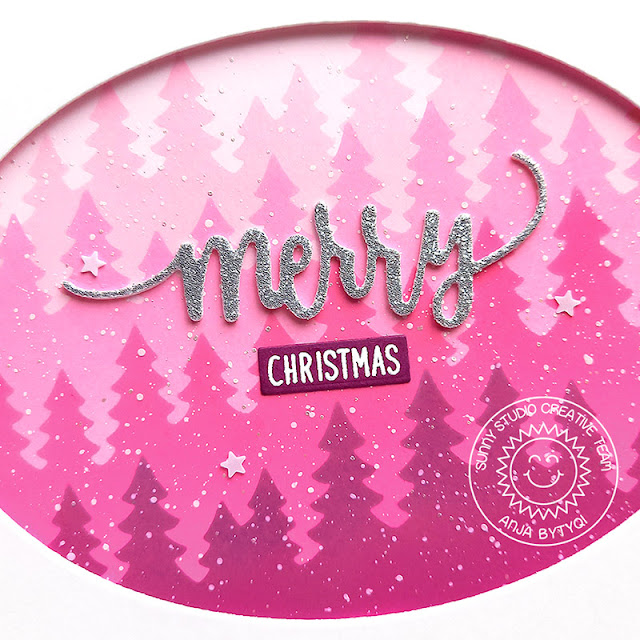 Sunny Studio Stamps: Forest Tree Stencils Stitched Oval Dies Christmas Card by Anja Bytyqi