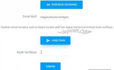 Masukkan kode verifikasi akun PTK dapodik