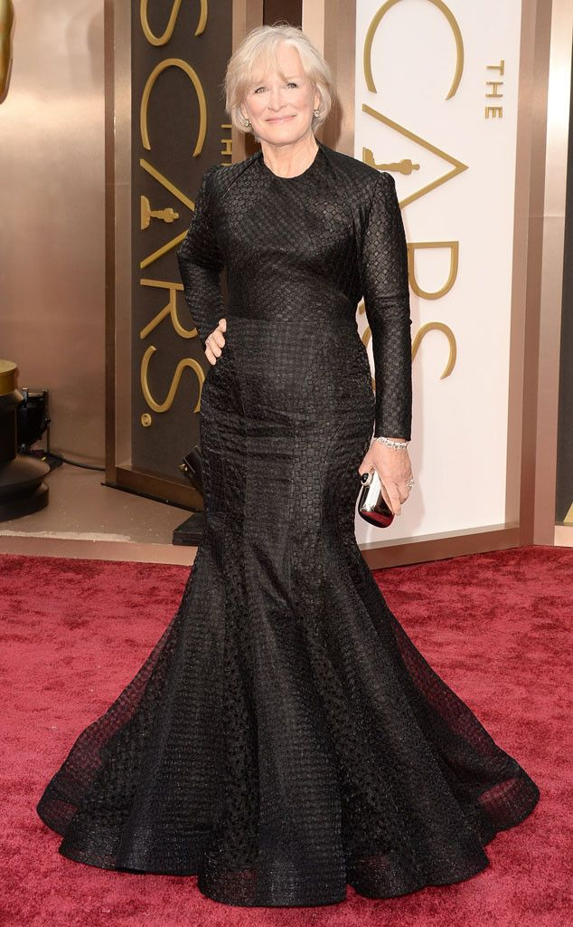 Glenn Close in a black Zac Posen gown at the Oscars 2014