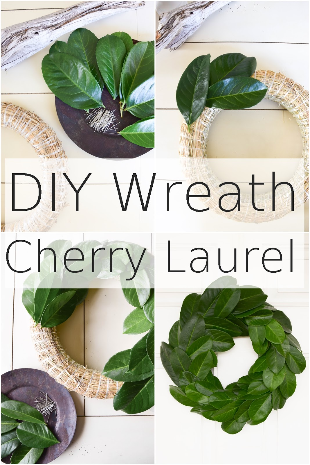 DIY wreath with cherry laurel