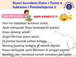 Kunci Jawaban Kelas 1 Tema 8 Subtema 1 Pembelajaran 2 www.jokowidodo-marufamin.com