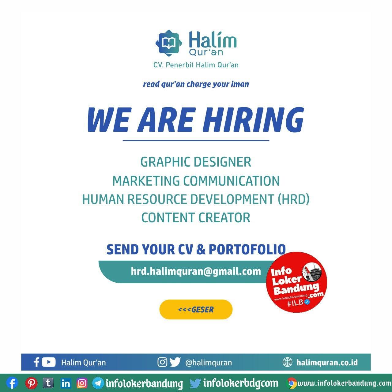Lowongan Kerja CV. Penerbit Halim Quran Bandung Oktober 2020