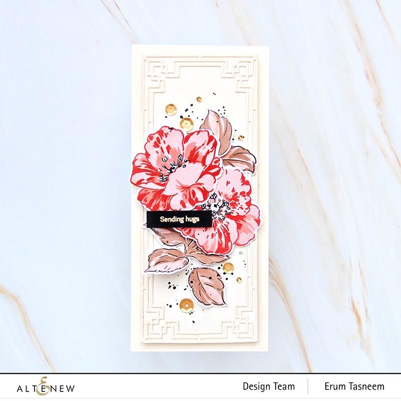 Altenew Queen Anemone Stamp Set + Slim Deco Cover Die Set  Erum Tasneem   @pr0digy0