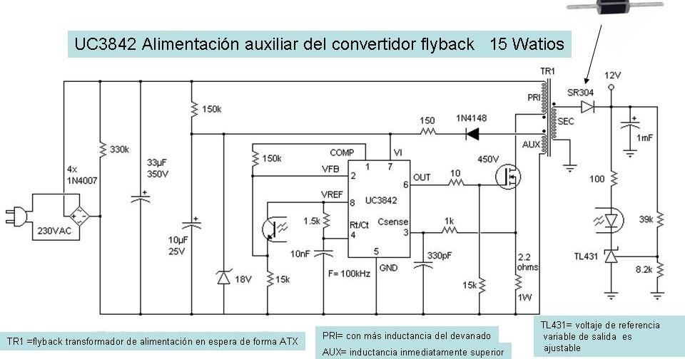 Electr 243 Nica Diagrama Fuente Conmutada Con Uc3842 8 Pines