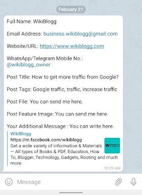 WikiBlogg Guest Post via Telegram