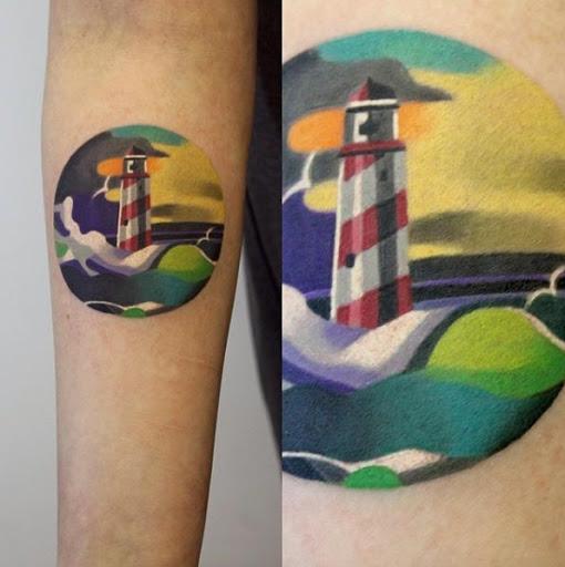 Esta aquarela farol da tatuagem