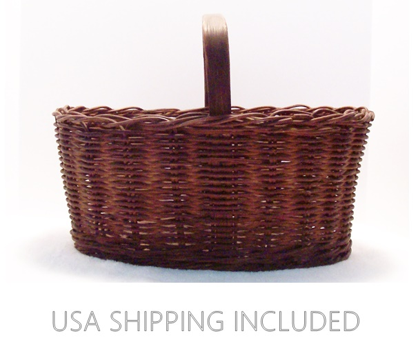 Market Twig Basket with Carved Hickory Handle