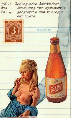 postage stamp schlitz beer bottle vintage blonde nude library card Fluxus Dada mail art collage