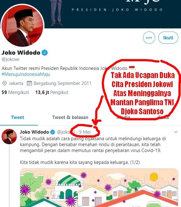 Publik Heran Tak Ada Ucapan Duka Cita Jokowi Atas Meninggalnya Mantan Panglima TNI Djoko Santoso