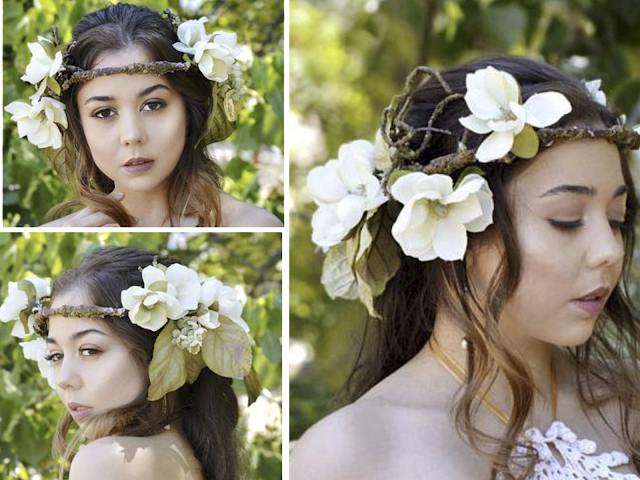 brunette model flower crown boho bride