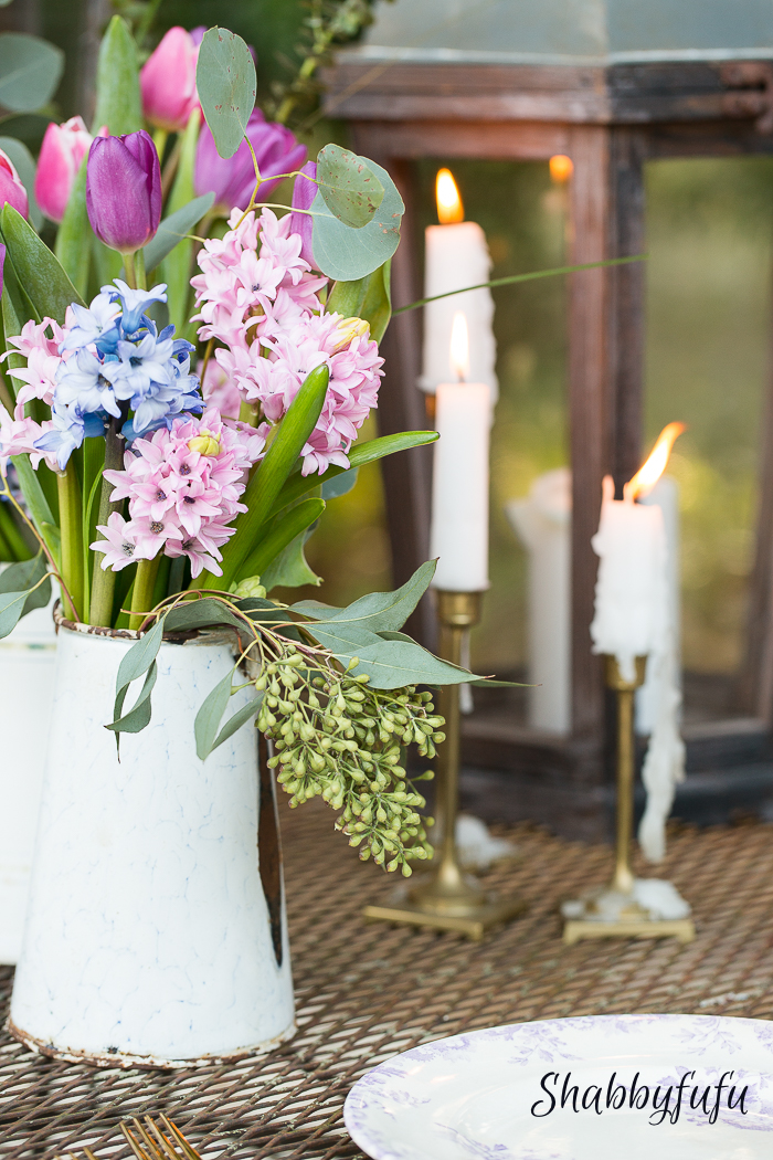 spring floral centerpiece and candles