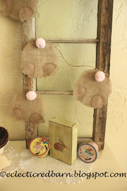 Eclectic Red Barn:  Easter Display with bunny garland and other Easter items