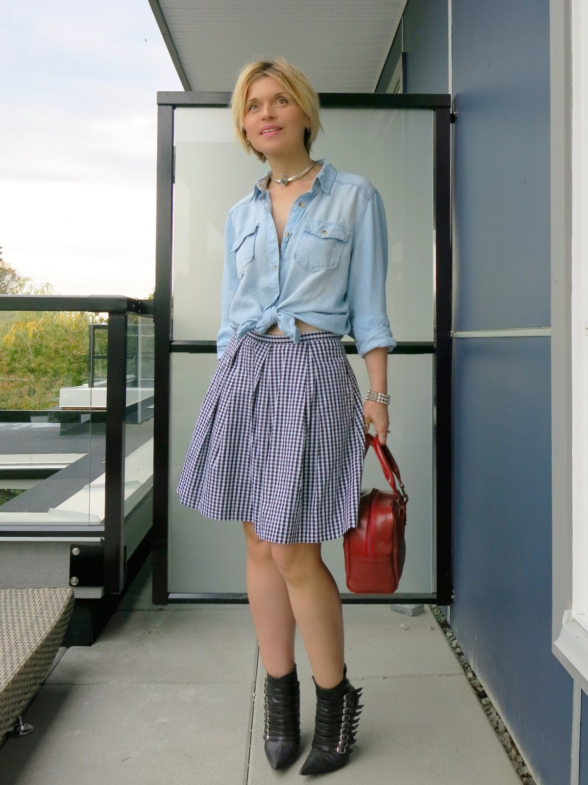 Kicking it:  gingham skirt, chambray shirt, and booties with attitude!