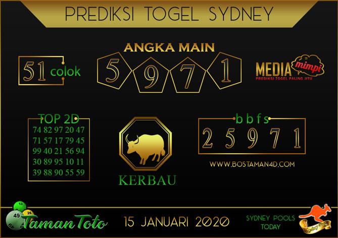 Prediksi Togel SYDNEY TAMAN TOTO 15 JANUARI 2020