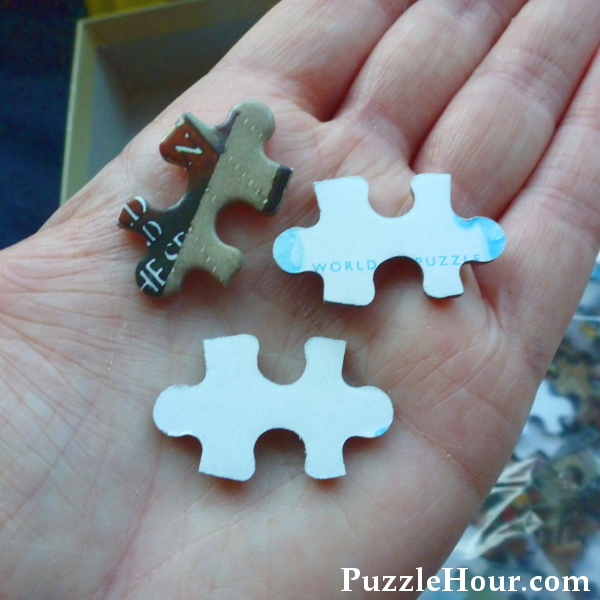 Front and back of Puzzle World jigsaw puzzles pieces example