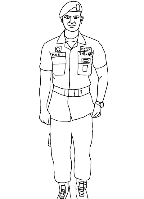 Gambar mewarnai Tentara TNI yang gagah