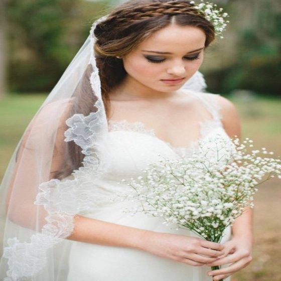 Coiffure sur cheveux mi long pour mariage