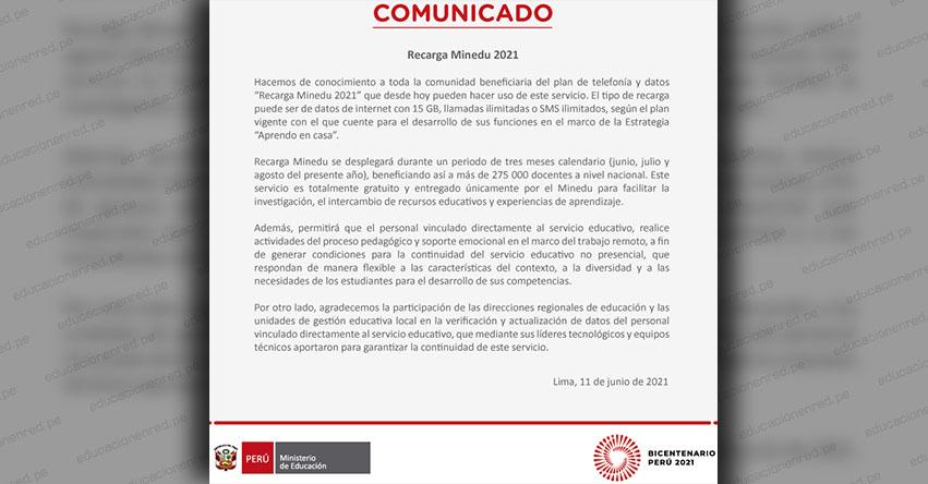COMUNICADO MINEDU: Sobre Beneficiarios del Plan de Telefonía y Datos «Recarga Minedu 2021»
