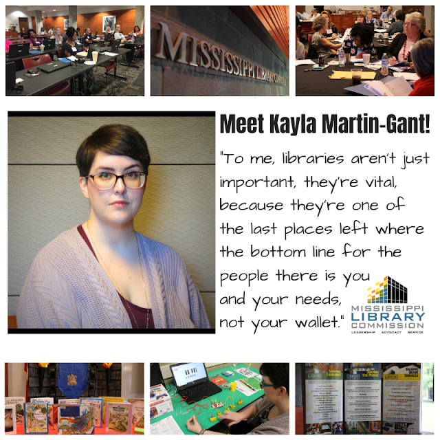 3 small pics of MLC at top and bottom. Middle left shows a picture of a white woman with short brown hair and glasses. next to her text reads Meet Kayla Martin-Gant.  To me, libraries aren't just important, they're vital, because they're one of the last places left where the bottom line for the people there is you and your needs, not your wallet.
