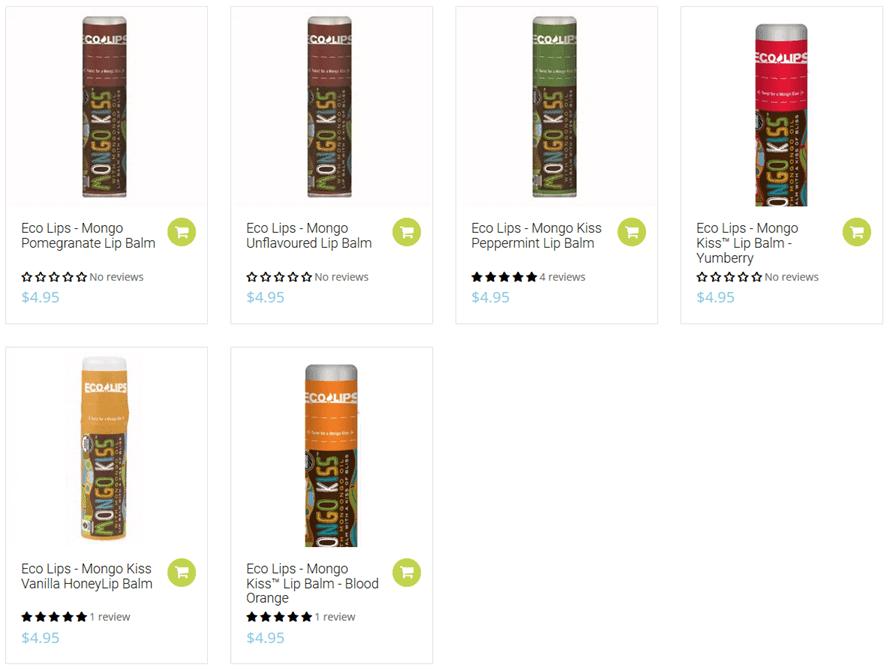 オーストラリアの蜜蝋で出来たリップクリーム「Eco Lips」の商品の画像写真
