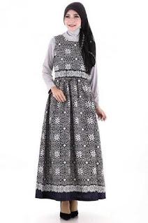 Gamis Batik Kombinasi Cardigan
