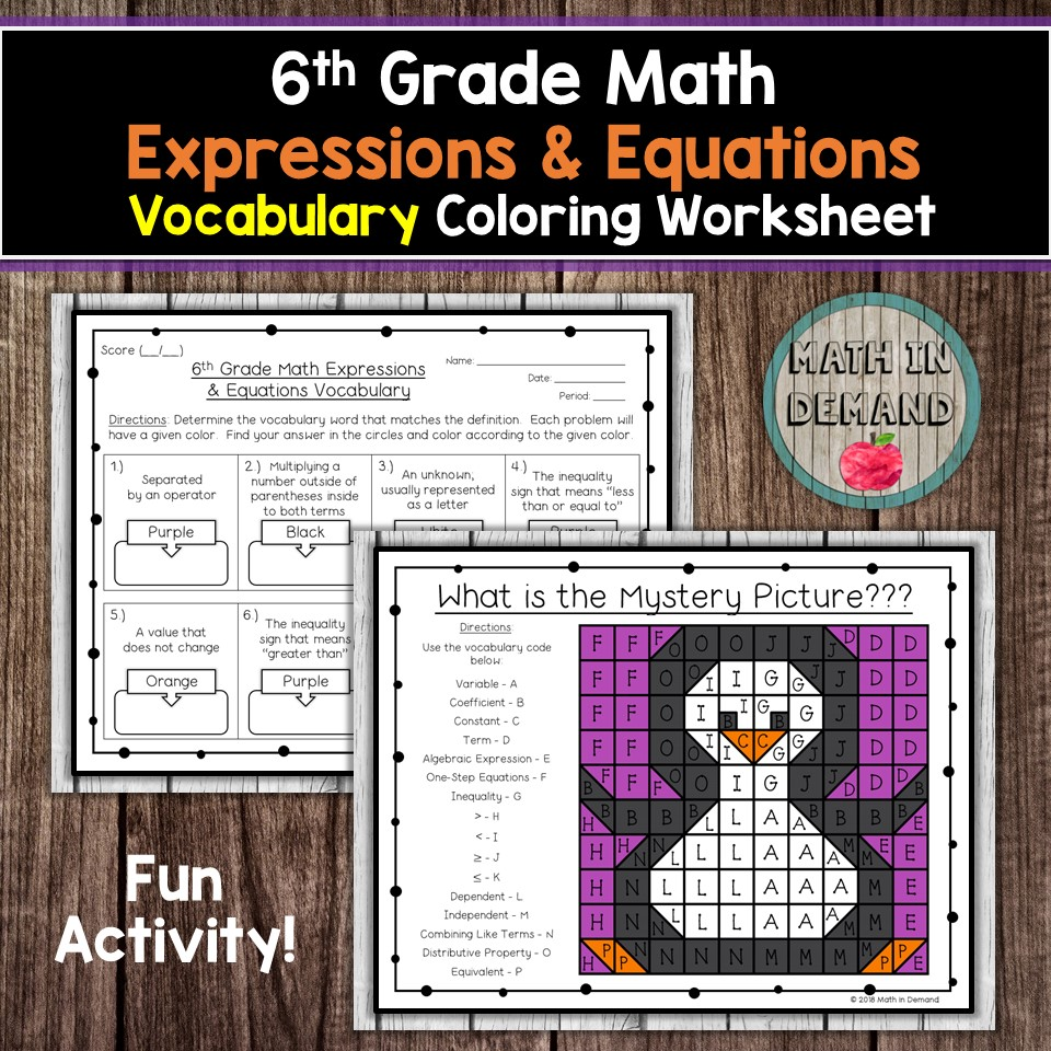 hight resolution of 6th Grade Math Vocabulary Coloring Worksheets