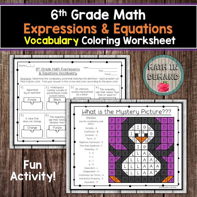 6th Grade Math Vocabulary Coloring Worksheets