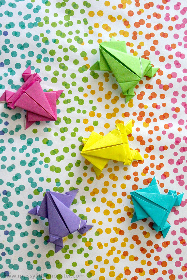 Origami Jumping Frog Craft - plus a fun number game for kids