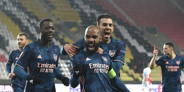 Alexander Lacazette celebrate for Arsenal in Europa League semi-finals