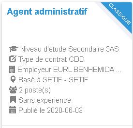 Agent administratif SETIF