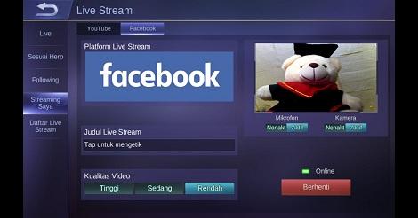 Cara Live Mobile Legends di Facebook