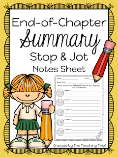 https://www.teacherspayteachers.com/Product/End-of-Chapter-STOP-and-Jot-Summary-Notes-Sheet-2659117