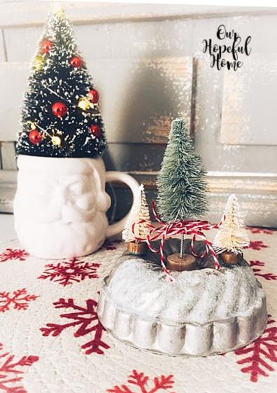 vintage tart tin bottle brush trees Christmas twine Santa face mug