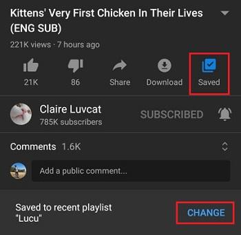 tombol ubah yang muncul di aplikasi youtube android