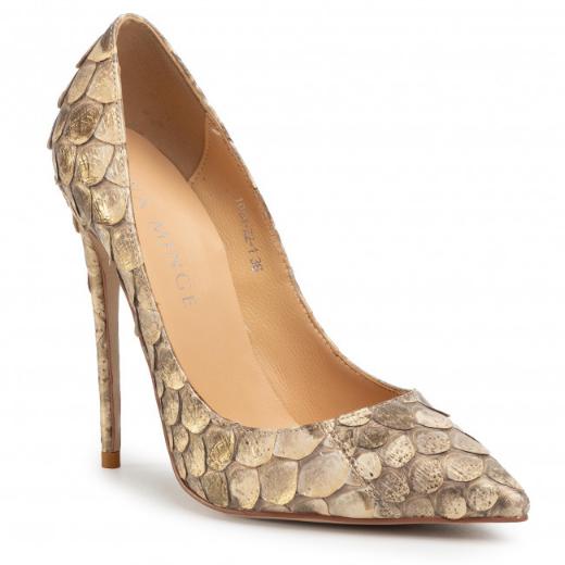 Pantofi eleganti aurii din piele cu toc subțire EVA MINGE